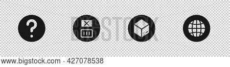 Set Unknown Search, Temperature Wash, Carton Cardboard Box And Social Network Icon. Vector