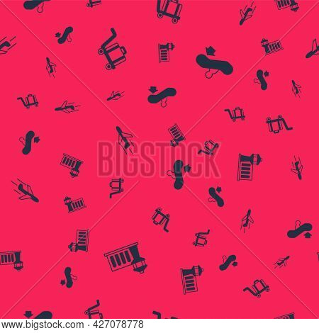 Set Airport Control Tower, Trolley Baggage, Plane And Escalator Up On Seamless Pattern. Vector