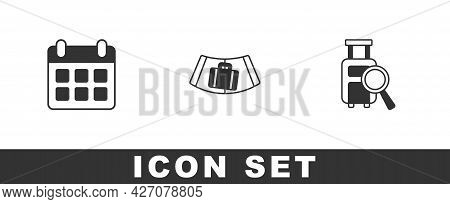 Set Calendar And Airplane, Conveyor Belt With Suitcase And Lost Baggage Icon. Vector
