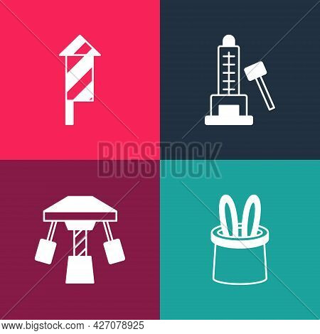Set Pop Art Magician Hat And Rabbit Ears, Attraction Carousel, Striker Attraction With Hammer And Fi