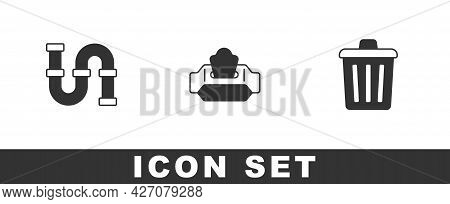 Set Industry Metallic Pipe, Wet Wipe Pack And Trash Can Icon. Vector