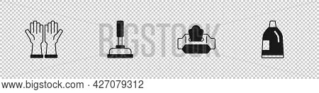 Set Rubber Gloves, Plunger, Wet Wipe Pack And Bottle For Cleaning Agent Icon. Vector