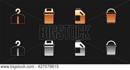 Set Hanger Wardrobe, Trash Can, Bottle For Cleaning Agent And Bucket Icon. Vector