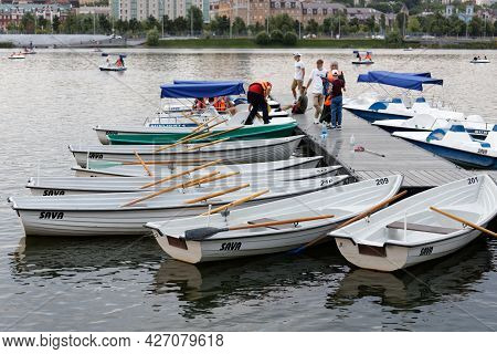 Kazan, Russia - June 15, 2021: Pier Of A Boat Station On The River With Pleasure Boats And Catamaran