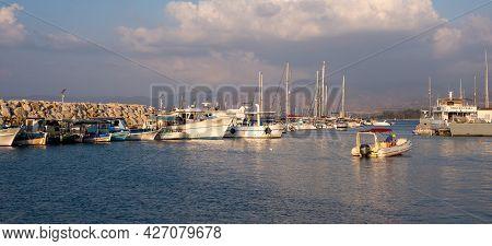 Paphos, Cyprus, September 12 2020: Fishing Boats And Tourist Yachts At Latsia Marina, Paphos Cyprus