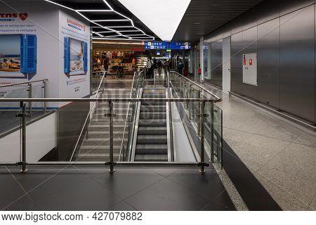 Athens, Greece - October 1, 2020: Interior Of The Athens International Airport, Greece