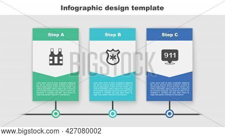 Set Bulletproof Vest, Police Badge And Telephone Call 911. Business Infographic Template. Vector
