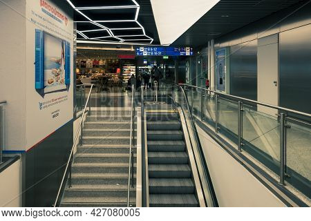 Athens, Greece - October 1, 2020: Escalator For The Movement Of Passengers In The Athens Internation
