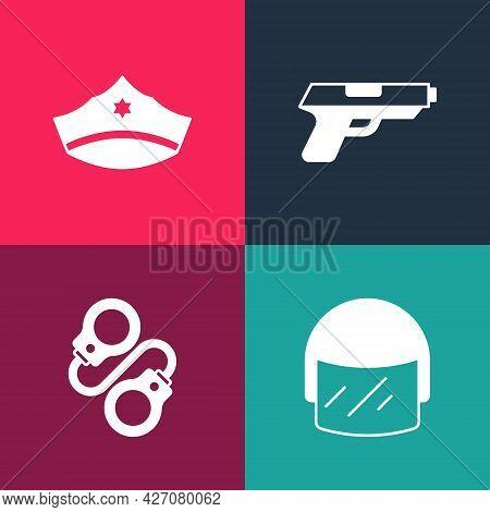 Set Pop Art Police Helmet, Handcuffs, Pistol Or Gun And Cap With Cockade Icon. Vector