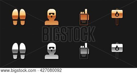 Set Footsteps, Thief Mask, Walkie Talkie And Protest Icon. Vector