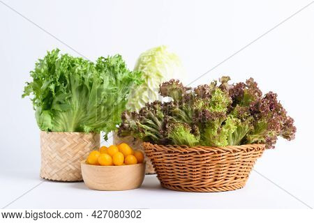 Fresh Various Vegetables With Natural Packaging On White Background, Organic Vegetable For Salad Coo