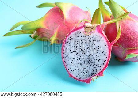 Half Dragon Fruit Or Pitaya On Color Background, Tropical Fruit