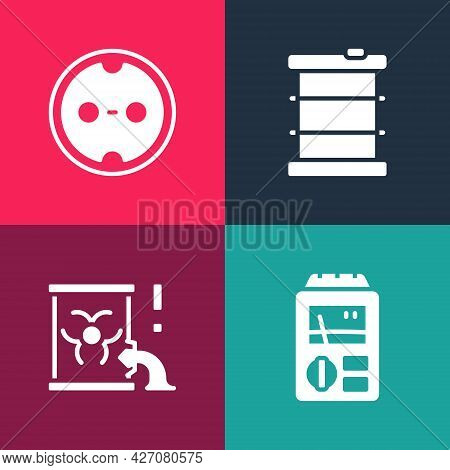 Set Pop Art Dosimeter, Radioactive Waste In Barrel, And Electrical Outlet Icon. Vector