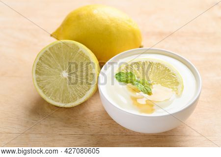 Fresh Lemon And Yogurt In A Bowl With Honey, Healthy Eating And Beauty Skincare