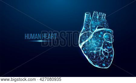 Human Heart Wireframe. World Heart Day Concept. Banner Template Glowing Low Poly. Futuristic Modern