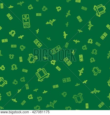 Set Line Airline Ticket, Conveyor Belt With Suitcase And Plane On Seamless Pattern. Vector