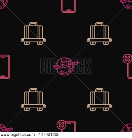 Set Line No Cell Phone, Conveyor Belt With Suitcase And Globe Flying Plane On Seamless Pattern. Vect