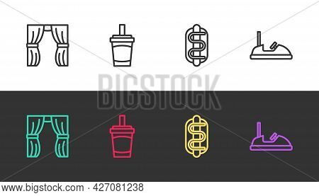 Set Line Circus Curtain Raises, Paper Glass With Water, Hotdog Sandwich And Bumper Car On Black And