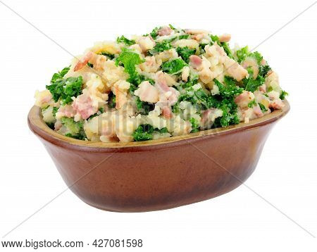 Traditional Irish Colcannon In A Rustic Earthenware Dish, Colcannon Is Made With Mashed Potato And K