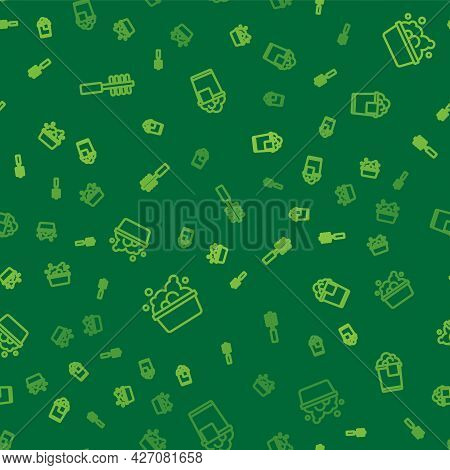 Set Line Toilet Brush, Basin With Soap Suds And Bucket Foam On Seamless Pattern. Vector