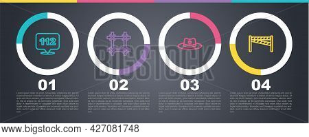 Set Line Telephone Call 112, Prison Window, Sheriff Hat With Badge And Crime Scene. Business Infogra