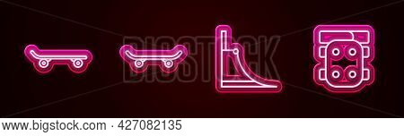 Set Line Skateboard, , Park And Knee Pads. Glowing Neon Icon. Vector