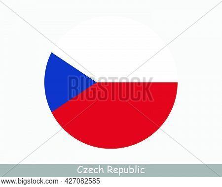 Czech Republic Round Circle Flag. Czechia Circular Button Banner Icon. Eps Vector