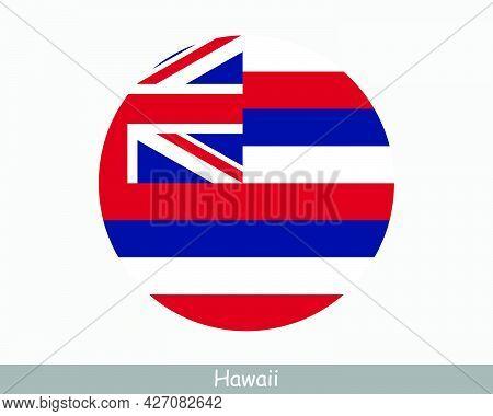 Hawaii Round Circle Flag. Hi Usa State Circular Button Banner Icon. Hawaii United States Of America