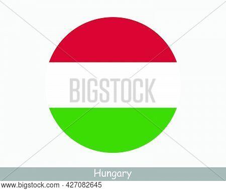 Hungary Round Circle Flag. Hungarian Circular Button Banner Icon. Eps Vector