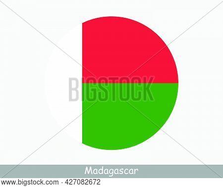 Madagascar Round Circle Flag. Malagasy Circular Button Banner Icon. Eps Vector