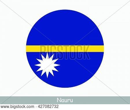 Nauru Round Circle Flag. Nauruan Circular Button Banner Icon. Eps Vector