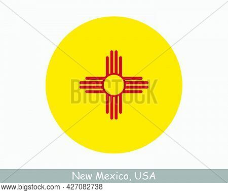 New Mexico Round Circle Flag. Nm Usa State Circular Button Banner Icon. New Mexico United States Of
