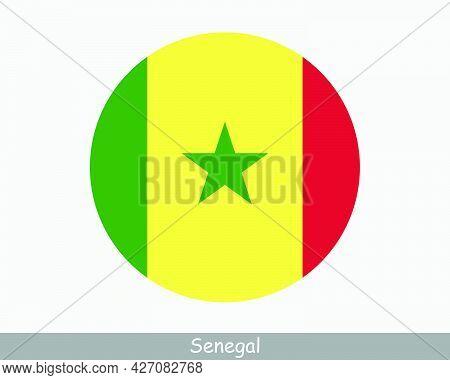 Senegal Round Circle Flag. Senegalese Circular Button Banner Icon. Eps Vector