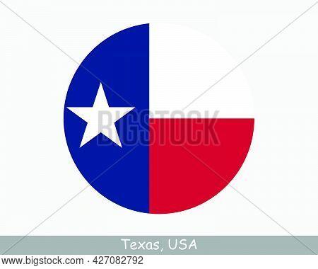 Texas Round Circle Flag. Tx Usa State Circular Button Banner Icon. Texas United States Of America St