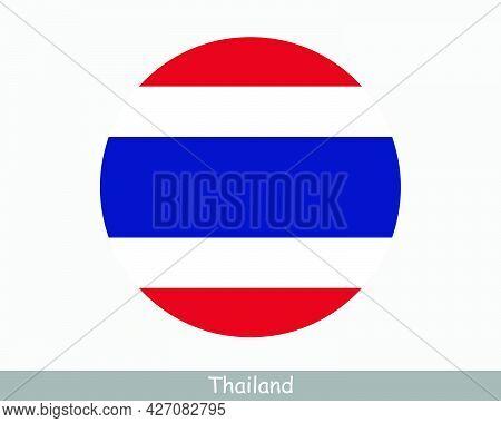 Thailand Round Circle Flag. Thai Circular Button Banner Icon. Eps Vector
