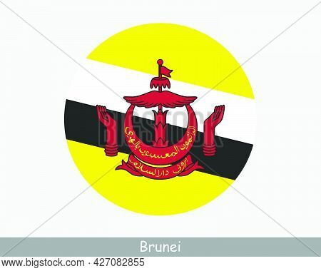 Brunei Round Circle Flag. Bruneian Circular Button Banner Icon. Eps Vector