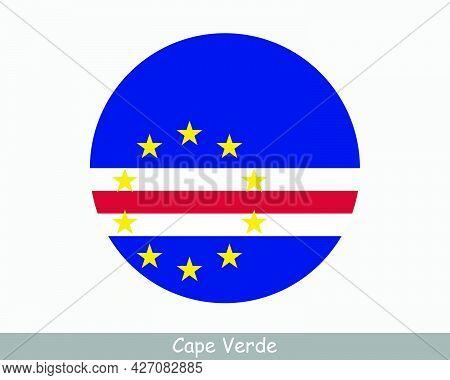 Cape Verde Round Circle Flag. Cabo Verde, Verdean Circular Button Banner Icon. Eps Vector