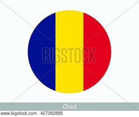 Chad Round Circle Flag. Chadian Circular Button Banner Icon. Eps Vector