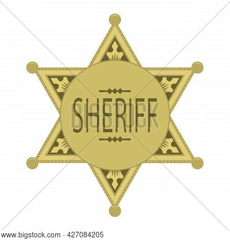 Yellow Sheriff Star Icon Isolated On White Background