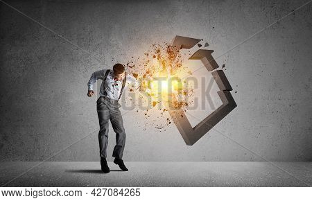 Determined Businessman Jumping And Breaking With Fist House Concrete Figure