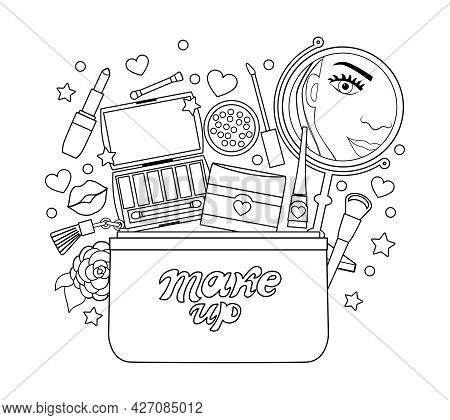 Cosmetic Bag With A Mirror, Lipstick, Eye Shadow Coloring Book For Adults. Vector Illustration.