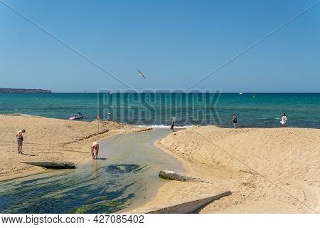 Platja De Palma, Spain; July 16 2021: General View Of The Beach Of Palma De Mallorca On A Sunny Summ