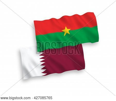 National Fabric Wave Flags Of Burkina Faso And Qatar Isolated On White Background. 1 To 2 Proportion