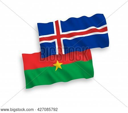 National Fabric Wave Flags Of Burkina Faso And Iceland Isolated On White Background. 1 To 2 Proporti