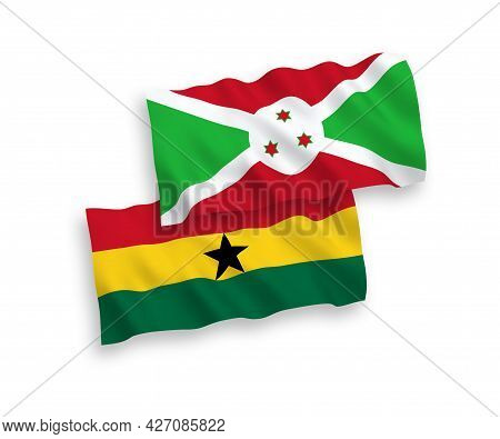 National Fabric Wave Flags Of Burundi And Ghana Isolated On White Background. 1 To 2 Proportion.