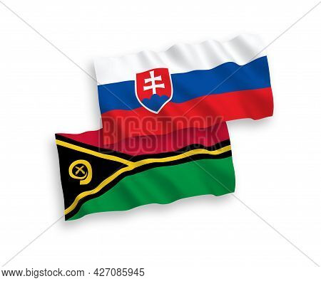 National Fabric Wave Flags Of Slovakia And Republic Of Vanuatu Isolated On White Background. 1 To 2