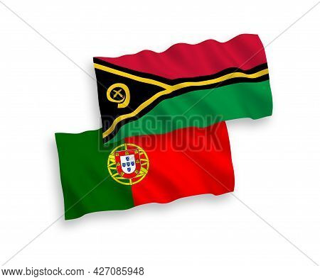 National Fabric Wave Flags Of Portugal And Republic Of Vanuatu Isolated On White Background. 1 To 2