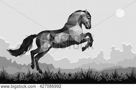 Galloping Horse In The Field,  Image In The Low Poly Style