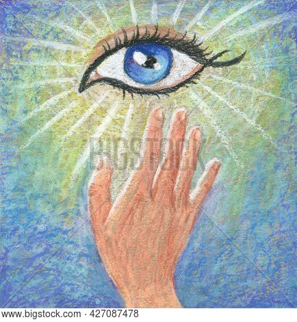 Hand Drawn Pastel Spirit Poster. Symbol Of Enlightenment, Intuition And Healing. The Hand That Reach