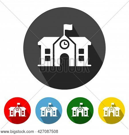 School Flat Style Icon With Long Shadow. School Icon Vector Illustration Design Element With Four Co